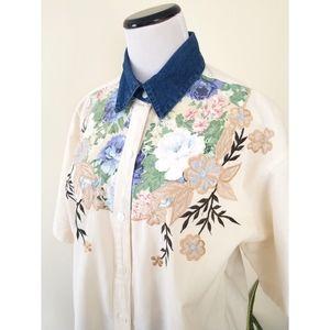 Vtg 90s Denim Collar Applique Camp Shirt